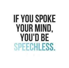 ... you spoke your mind, you'd be speechless. #Funny #Insults #Quotes More