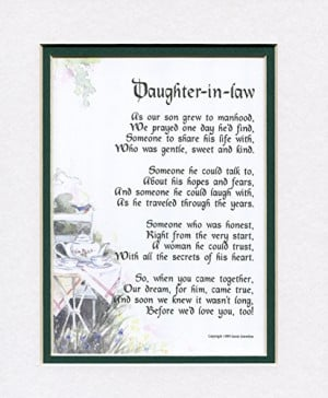 Special Wedding Gifts For Son And Daughter In Law : Gift For A Daughter-in-law, #89, Touching 8x10 Poem, Double-matted ...