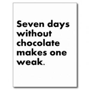 Funny Chocolate Sayings Postcards