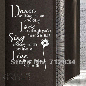 WALL'S MATTER Home Decor Dance Love Sing Live Wall Stickers Wall Quote ...