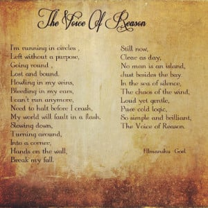 The Voice of Reason #poem, #poetry, #poet, #quotes, #writing.