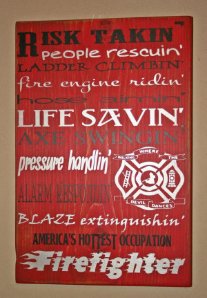 Firefighter Wall Art, Firefighter Decor, Distressed Wall Decor, Custom ...