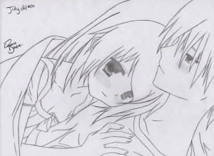cute anime couples cuddling drawing