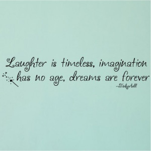 ... age, Dreams are forever -Tinkerbell vinyl lettering wall quote sticker