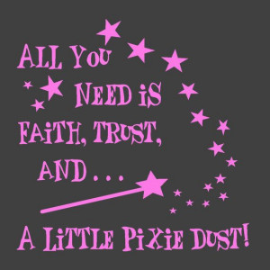 Faith Trust and Pixie Dust Vinyl Wall Decal Quote Tinkerbell Childs ...