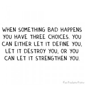 When Something Bad Happens You Have Three Choices. You Can Either Let ...