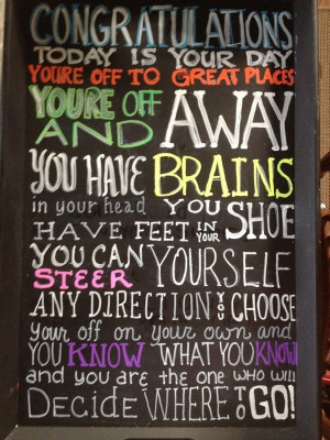 Graduation Party - Dr Suess Quote - Oh the Places you'll Go! This is ...