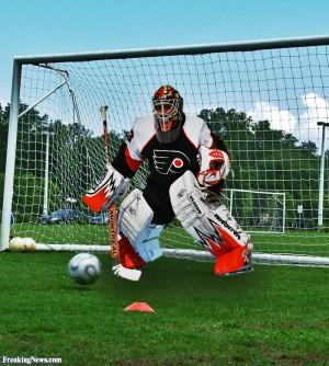 Funny Ice Hockey Goalie on Socker Field
