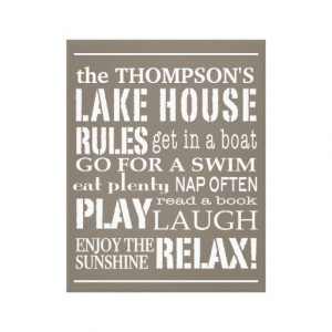 personalized_family_lake_house_rules_brown_white_canvas ...