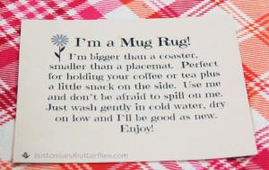 Without further ado. A mug rug tag.