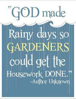God made rainy days so you could get the housework done