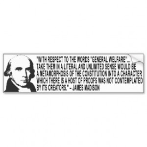 James Madison Quote Bumper Sticker Car Bumper Sticker