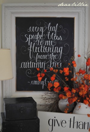 Fall Chalkboard, Give Thanks Sign and Autumn Print