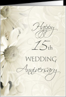 White Floral Happy 15th Wedding Anniversary Card - Product #631800