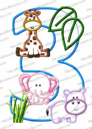 Zoo Birthday Applique Designs