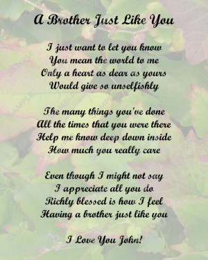 Brother Poem Love Poem Digital INSTANT DOWNLOAD - On Sale!!