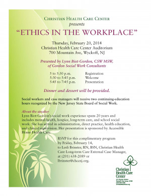 "CHCC presents ""Ethics in the Workplace"" – specially designed for ..."