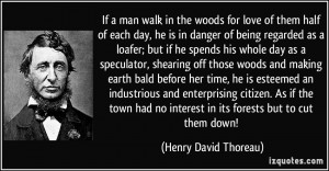 If a man walk in the woods for love of them half of each day, he is in ...