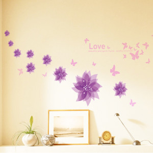 Free shipping flower wall stickers love beautiful and spirit rhyme ...