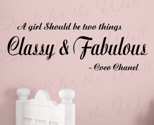Classy and Fabulous Coco Chanel Removable Wall Decal Quote