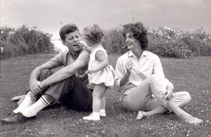 John F. Kennedy, wife Jacqueline and daughter Caroline.