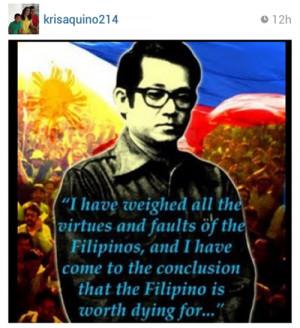 ... post si kris aquino ng larawan ng dating senador na si benigno aquino