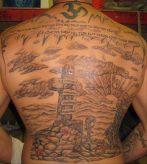 This tattoo is Damian Dyke's tribute to fallen soldiers the quote ...