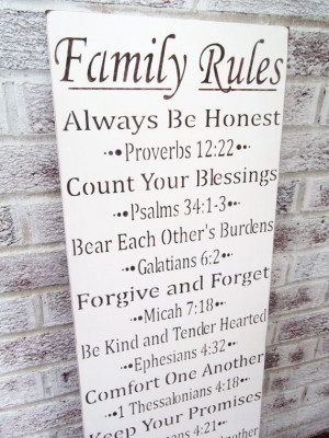 Scripture FAMILY RULES typography sign