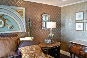 Brown Wall Stencils in Eclectic Bedrooms