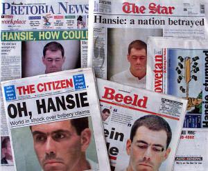 Hansie Cronje newspaper headlines