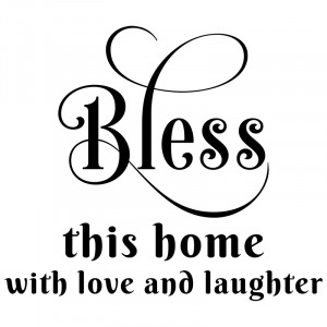 ... Bless this home with love and laughter wall decal words quote sticker