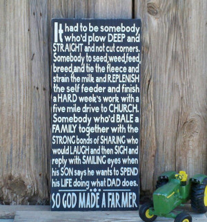 So God Made A Farmer Sign Paul Harvey Quote Hand Painted Rustic Sign