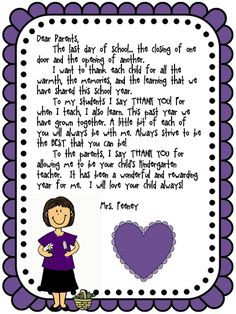 Love Those Kinders!: such a cute end of the year letter More