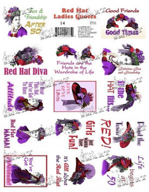 Red Hat Ladies Quotes - 14 on a Digital Collage Sheet Download ...