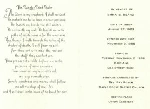 Here is the Funeral Home Card of my great-aunt Emma Tharp Beard. I ...