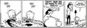 1985:33 Calvin and Hobbes – Making speed bumps.