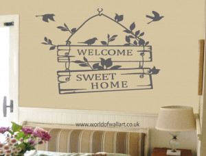 Welcome Sweet Home Wall Sticker Wall Sticker, large decal, big birds ...