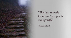 The best remedy for a short temper is a long walk - Jacqueline Schiff