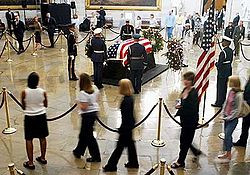 ... President Ronald Reagan lies in the United States Capitol Rotunda