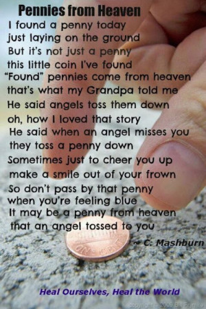 pennies from heaven i found a penny today just laying on the ground ...