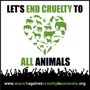 Stop Animal Cruelty Signs March against cruelty to