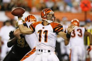 Doug Johnson 11 of the Cincinnati Bengals throws a pass during a ...