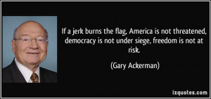 If a jerk burns the flag, America is not threatened, democracy is not ...