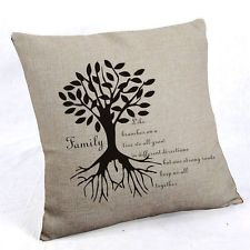 ... Quotes Cotton Linen Throw Pillow Cover Cushion Case Family tree