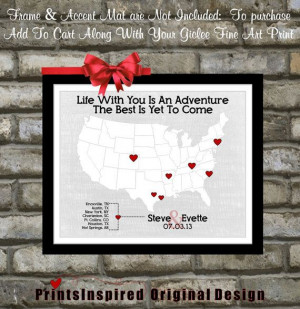 Custom Wedding Travel Theme Map Love Story Quote: Unique Wedding Gift ...