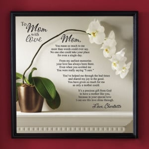 To Mom with Love Framed Canvas - 16 x 16