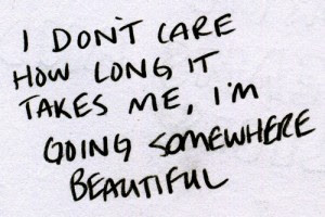 don't care how long it takes me, I'm going somewhere beautiful.