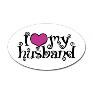 Love My Husband Oval Sticker - CafePress