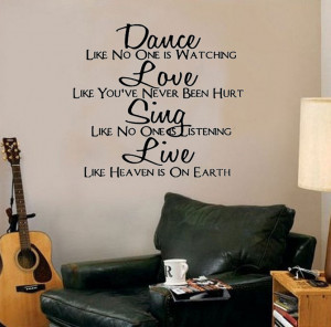 Dance Love Sing Live-Art Inspiration wall sticker decal decor quote ...