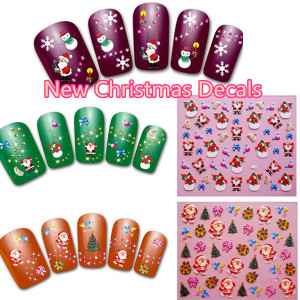 50Sheets New Christmas Tree Snow Decals 3D Nail Art Stickers Nail